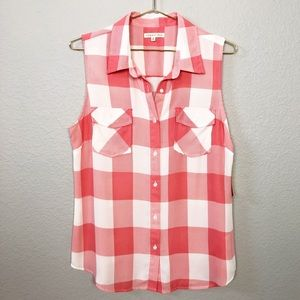 NWT Copper Key Gingham Button Down Tank